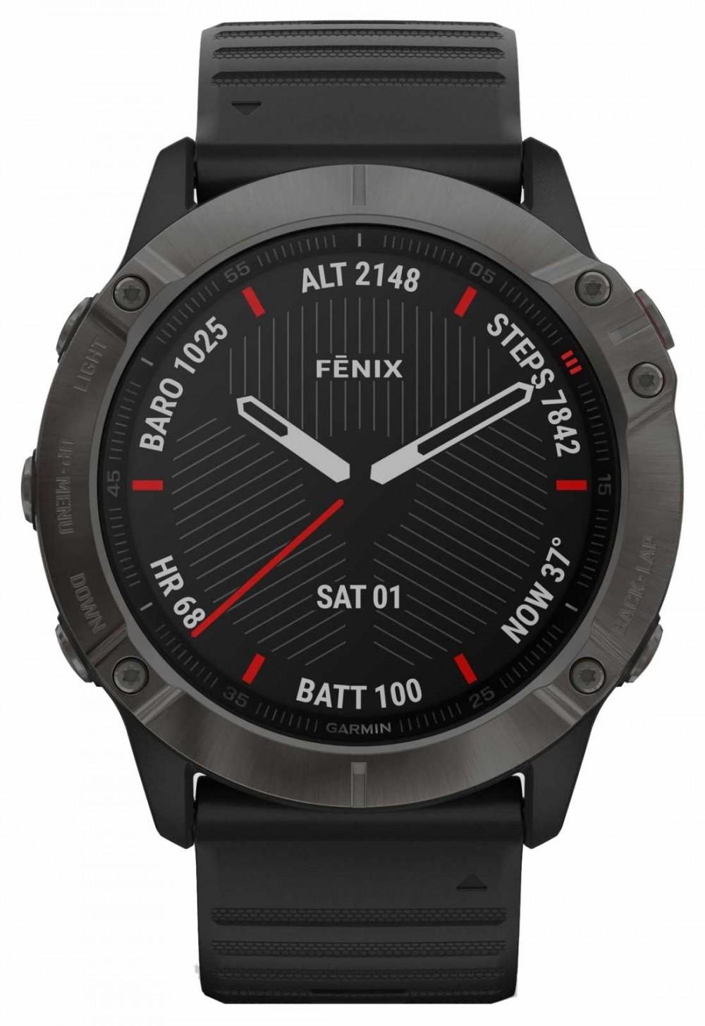 Garmin Fenix 6X Pro Sapphire   Carbon Grey DLC   Black Rubber Strap 010-02157-11