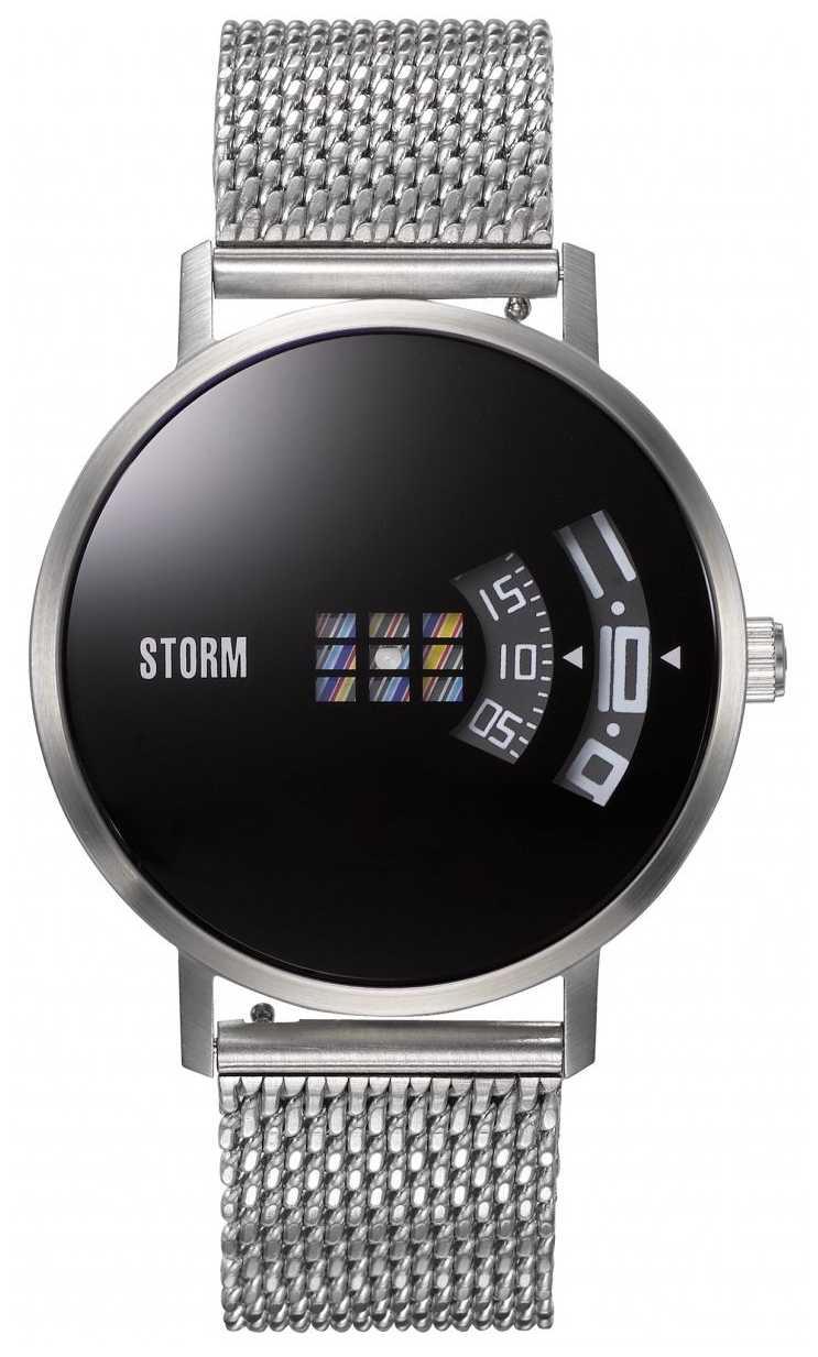 STORM   Remi V2 Mesh Black   Silver Mesh Bracelet   Black Dial   47460/BK