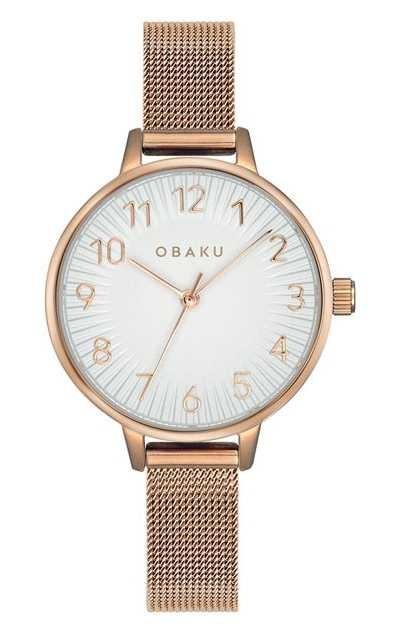 Obaku   Women's Syren Rose   Rose Gold Mesh Bracelet   White Dial V237LXVIMV