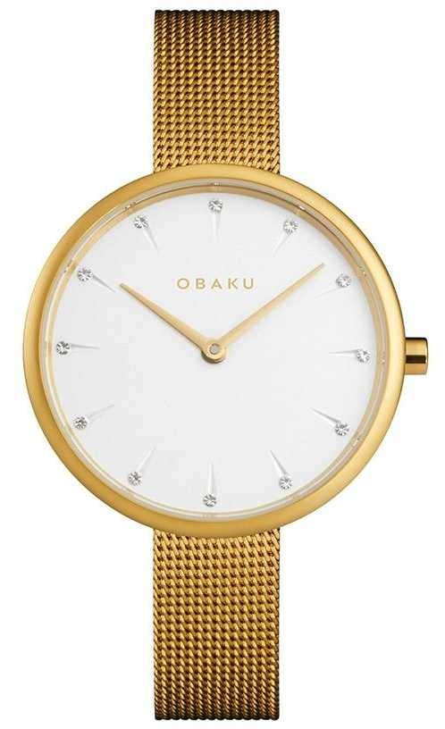 Obaku   Women's Notat Gold   Gold Mesh Bracelet   White Dial   V223LXGIMG