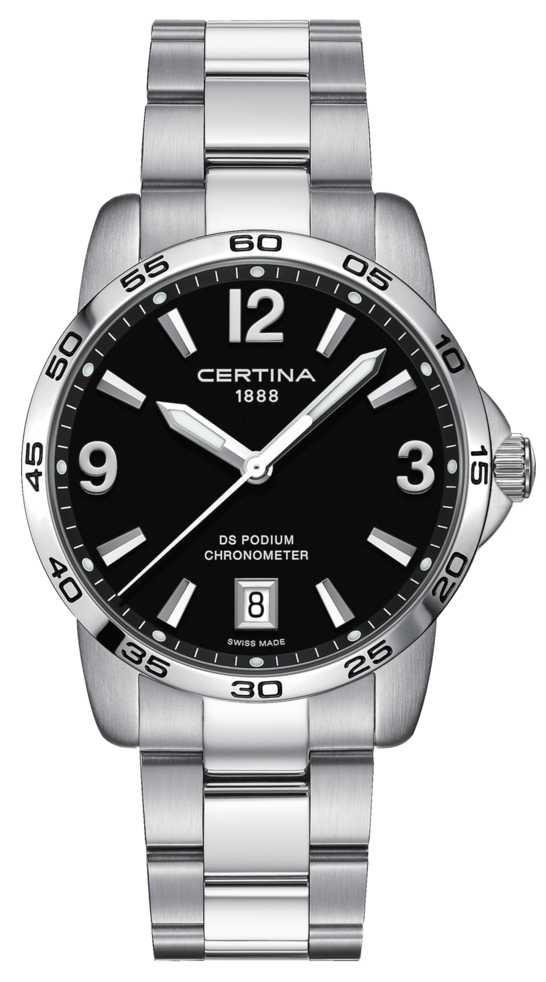 Certina DS Podium 40mm   Stainless Steel Bracelet   Black Dial   C0344511105700