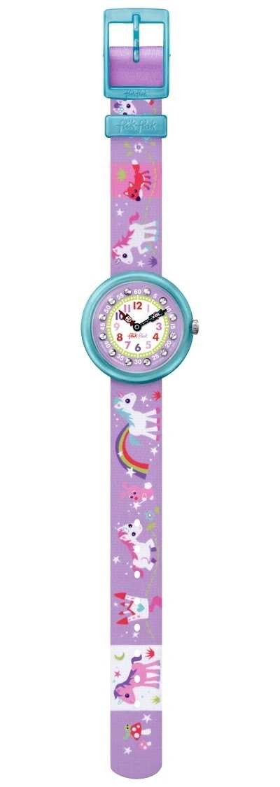 Flik Flak | Magical Unicorns | Unicorn Print Fabric Strap | White Dial FBNP033
