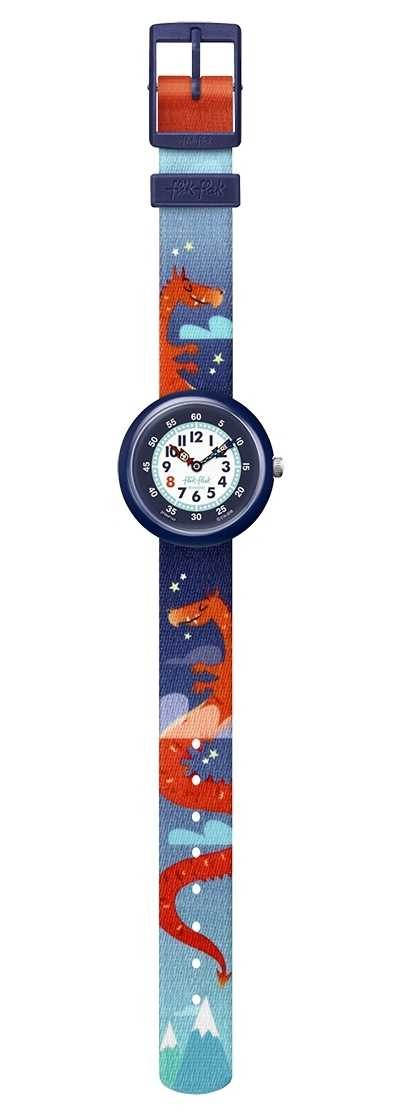 Flik Flak | Draggy | Dragon Print Fabric Strap | White/Blue Dial | FBNP144