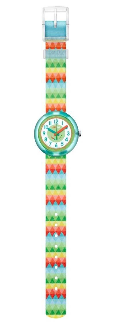 Flik Flak | Sweet Flags | Multi-Coloured Fabric Strap | White Dial | FPNP015