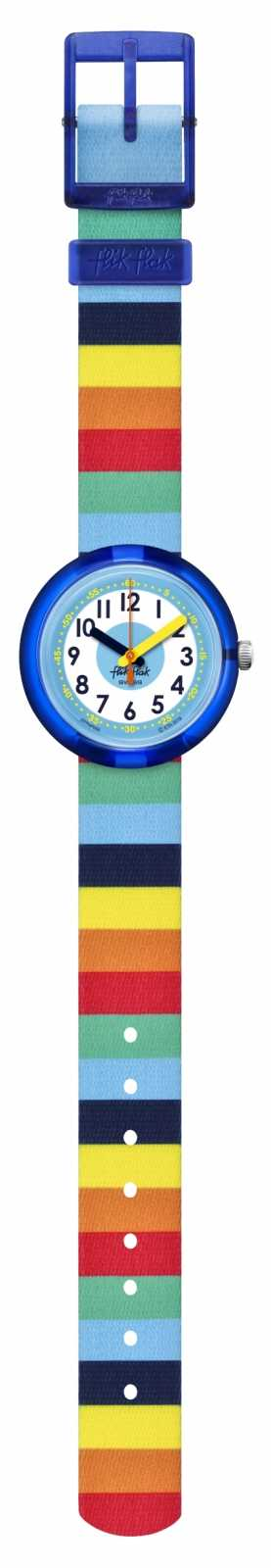 Flik Flak | Stripybow | Multi-Coloured Plastic Strap | White Dial | FPNP056