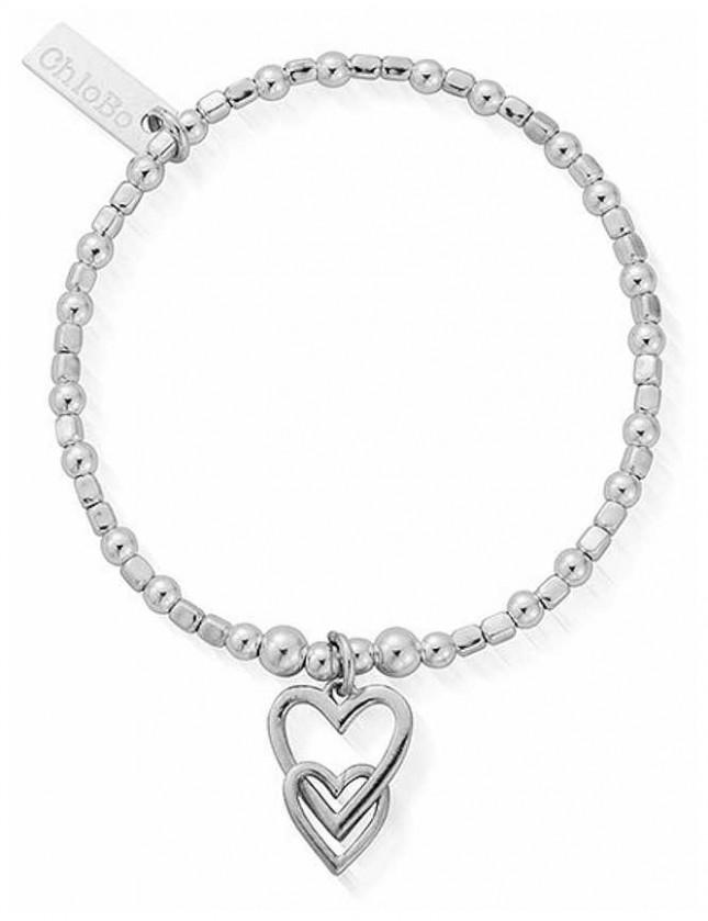 ChloBo Children's Mini Cube Interlocking Love Heart Bracelet CSBCFB572