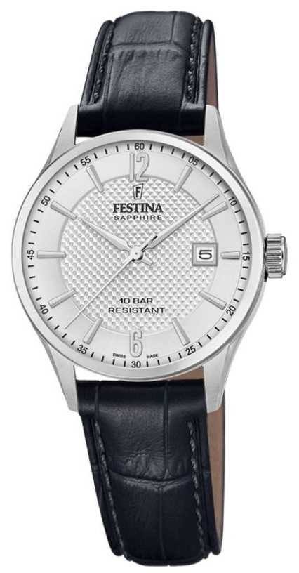Festina | Women's Swiss Made | Black Leather Strap | Silver Dial | F20009/1
