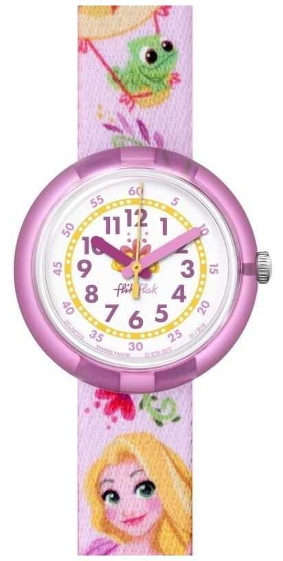 Flik Flak | Disney Rapunzel | Pink Print Strap | White Dial | FLNP028