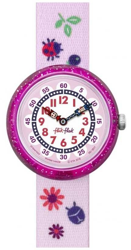 Flik Flak | Autumn Colors | Pink Print Strap | White/Pink Dial | FBNP093
