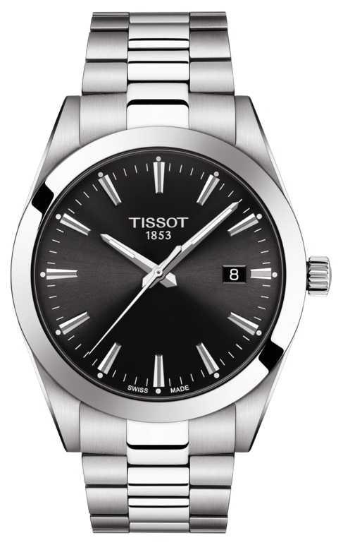 Tissot   Gentleman   Stainless Steel Bracelet   Black Dial   T1274101105100