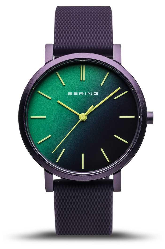 Bering | True Aurora | Purple Rubber Strap | Green Purple Dial | 16934-999