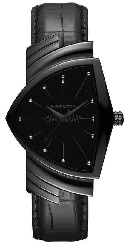 Hamilton Ventura | Men's Black Leather Strap | Black Dial | H24401731