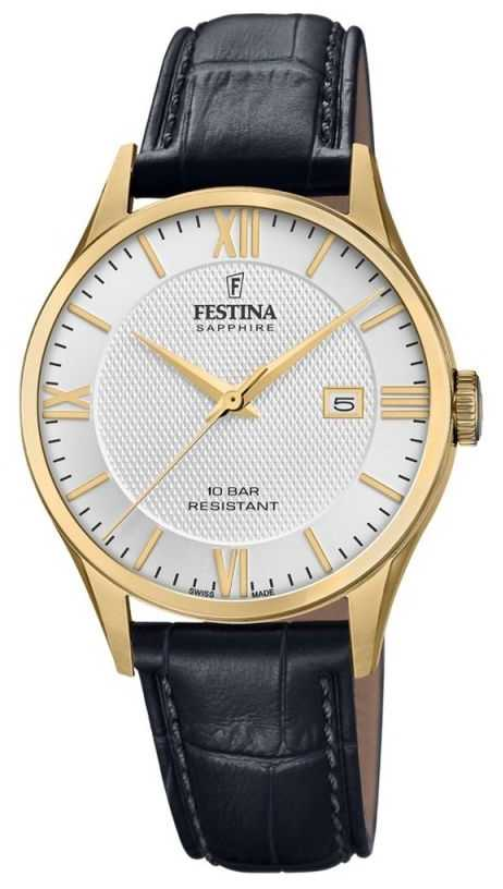 Festina | Men's Swiss Made | Black Leather Strap | Silver Dial | F20010/2
