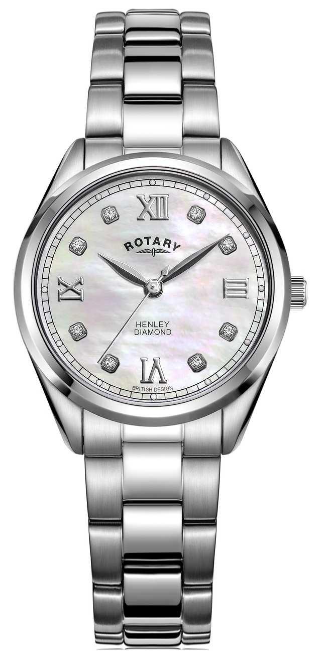 Rotary Women's Henley   Stainless Steel Bracelet   Diamond Set Dial LB05110/07/D