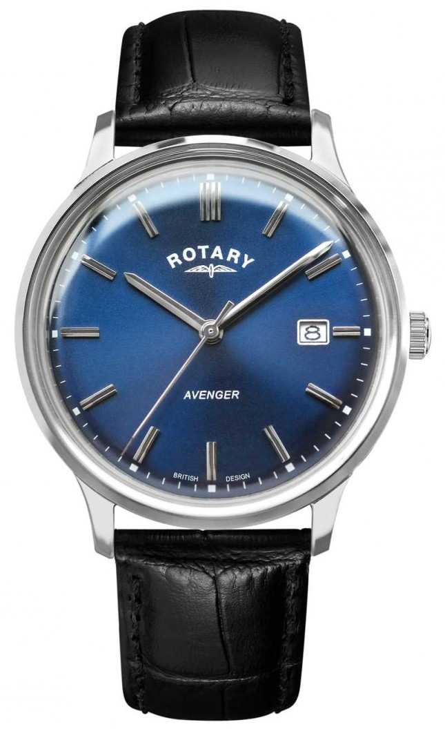 Rotary Men's Avenger | Black Leather Strap | Blue Dial | GS05400/05