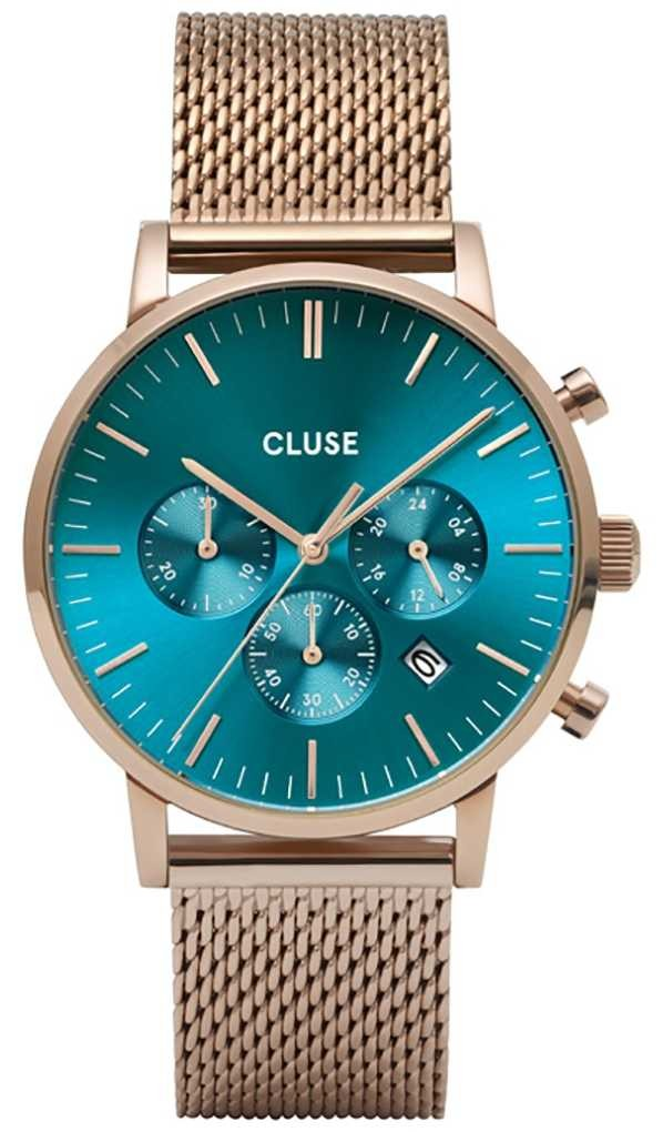 CLUSE | Aravis Chrono | Rose Gold Mesh Bracelet | Ocean Blue Dial | CW0101502005