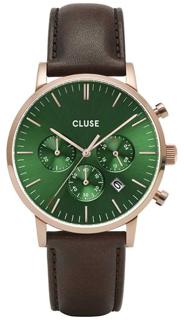 CLUSE | Aravis Chrono | Brown Leather Strap | Green Dial | CW0101502006