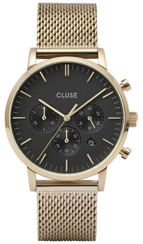 CLUSE | Aravis Chrono | Gold Plated Mesh Bracelet | Black Dial | CW0101502010