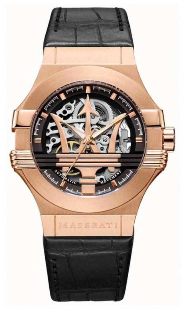 Maserati Potenza | Black Leather Strap | Rose Gold PVD Plated Case | R8821108030