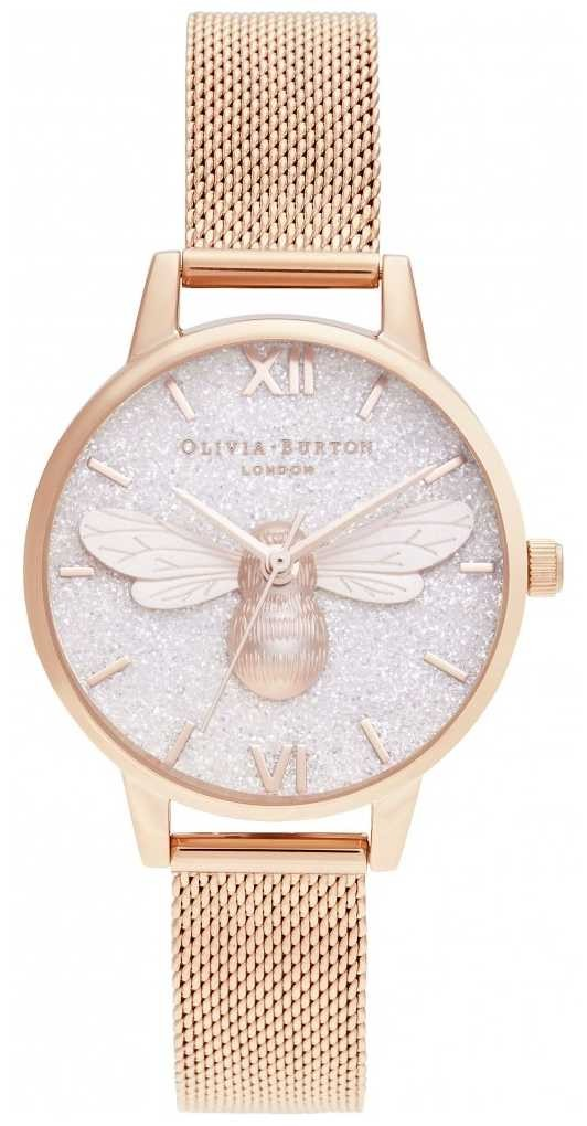 Olivia Burton | Glitter Dial Lucky Bee & Rose Gold Mesh | OB16FB04