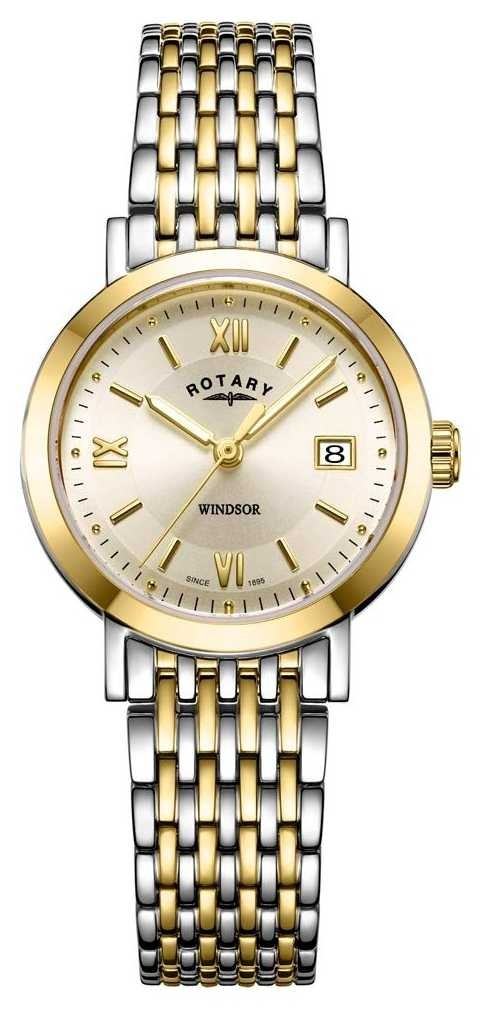 Rotary Womens Windsor Two Tone Gold And Silver Bracelet Watch LB05301/09