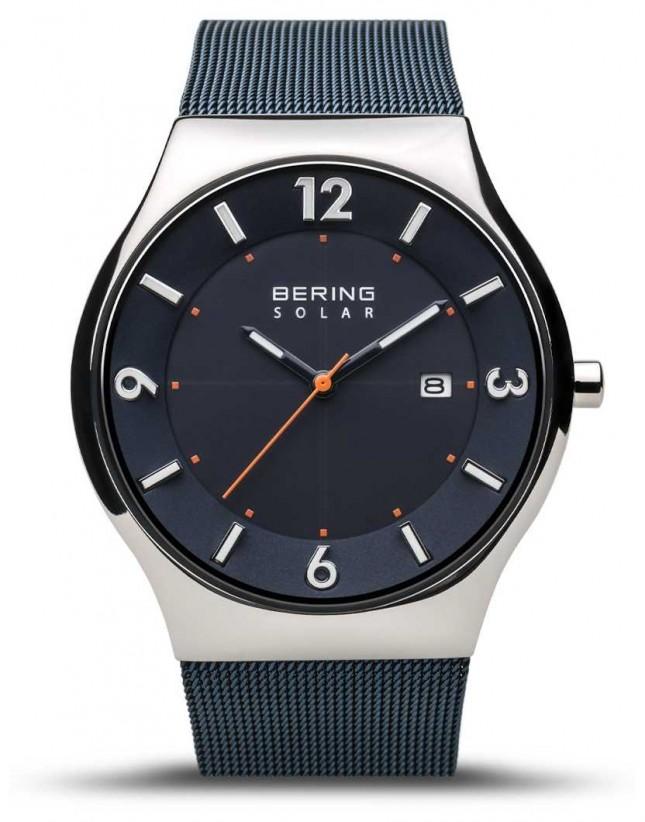 Bering   Men's   Slim Solar   Navy Blue   Mesh Bracelet   14440-307