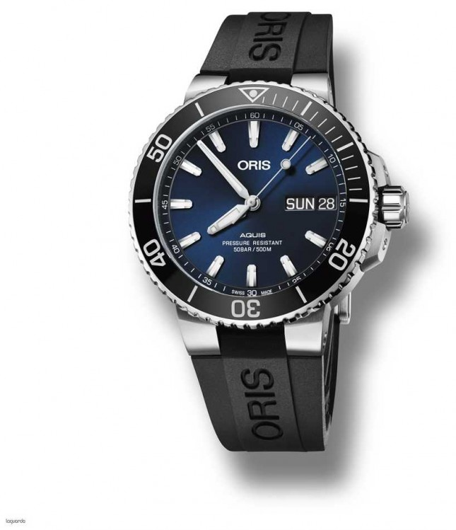 ORIS Aquis | Big Day Date | Blue Dial | Black Rubber Strap 01 752 7733 4135-07 4 24 64EB