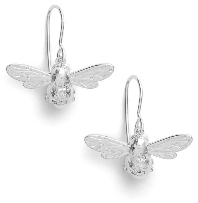 Olivia Burton   Lucky Bee   Silver   Sleeper Earrings   OBJAME171N