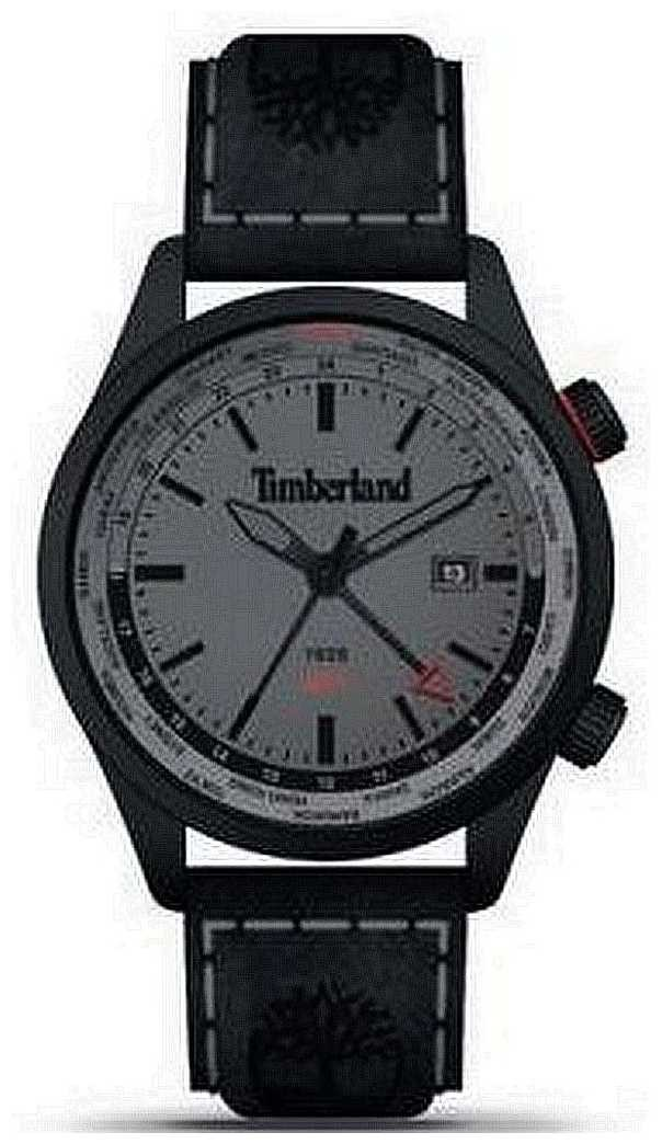 Timberland Men's | Malden | GMT | Black Leather Strap| Grey Dial 15942JSB/13
