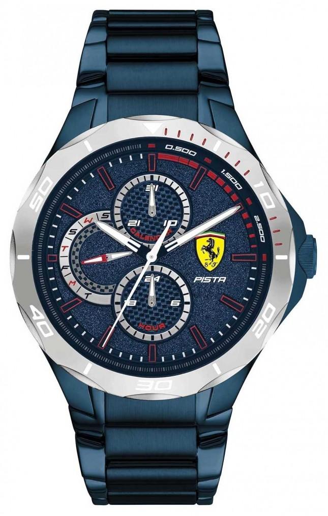 Scuderia Ferrari   Men's Pista   Blue Ion-Plated Steel Bracelet   Blue Dial 0830759