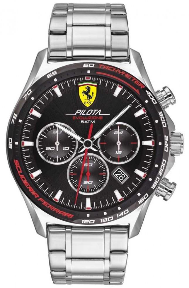Scuderia Ferrari   Men's Pilota Evo   Stainless Steel Bracelet   Black Dial   0830714