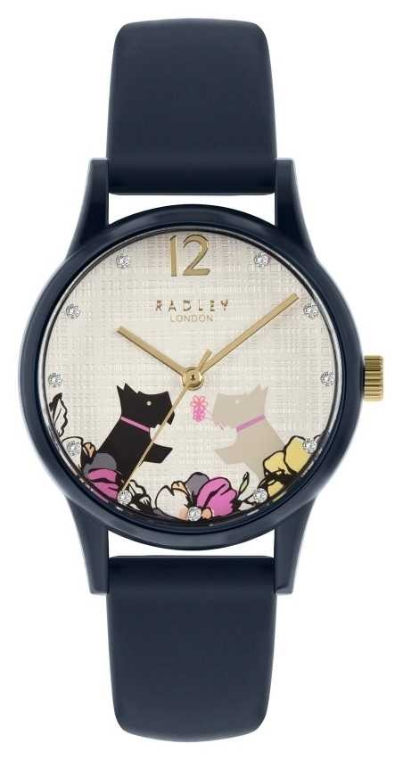 Radley   Women's Navy Silicone Strap   Floral Dog Motif Dial RY2983