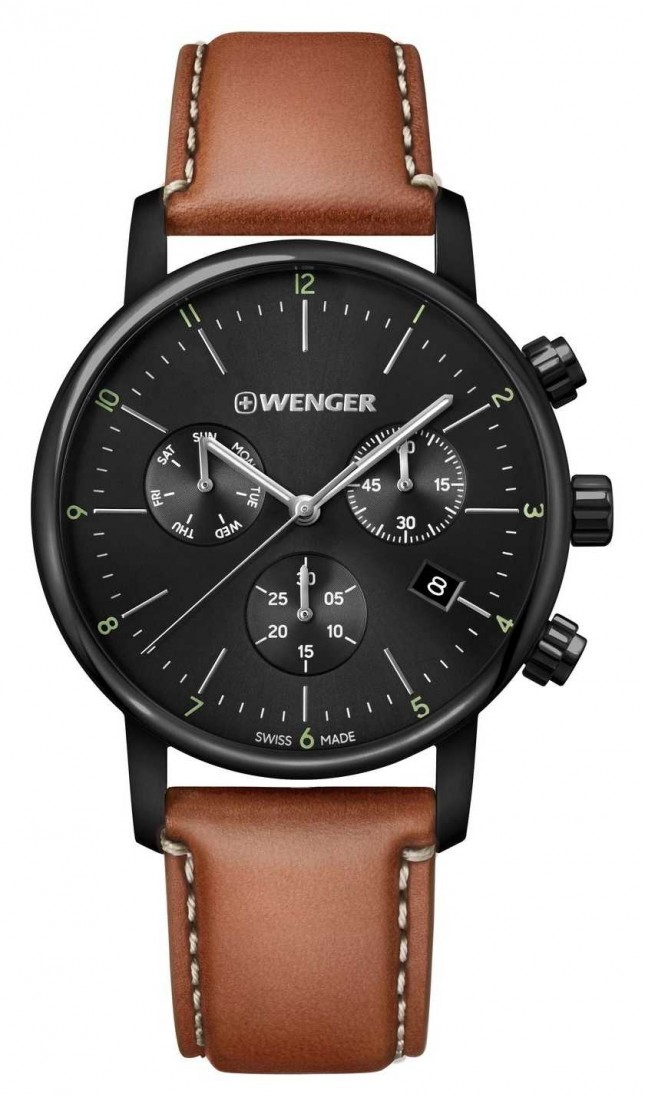 Wenger | Urban Classic Chrono | Brown Leather Strap | Black Dial 01.1743.115