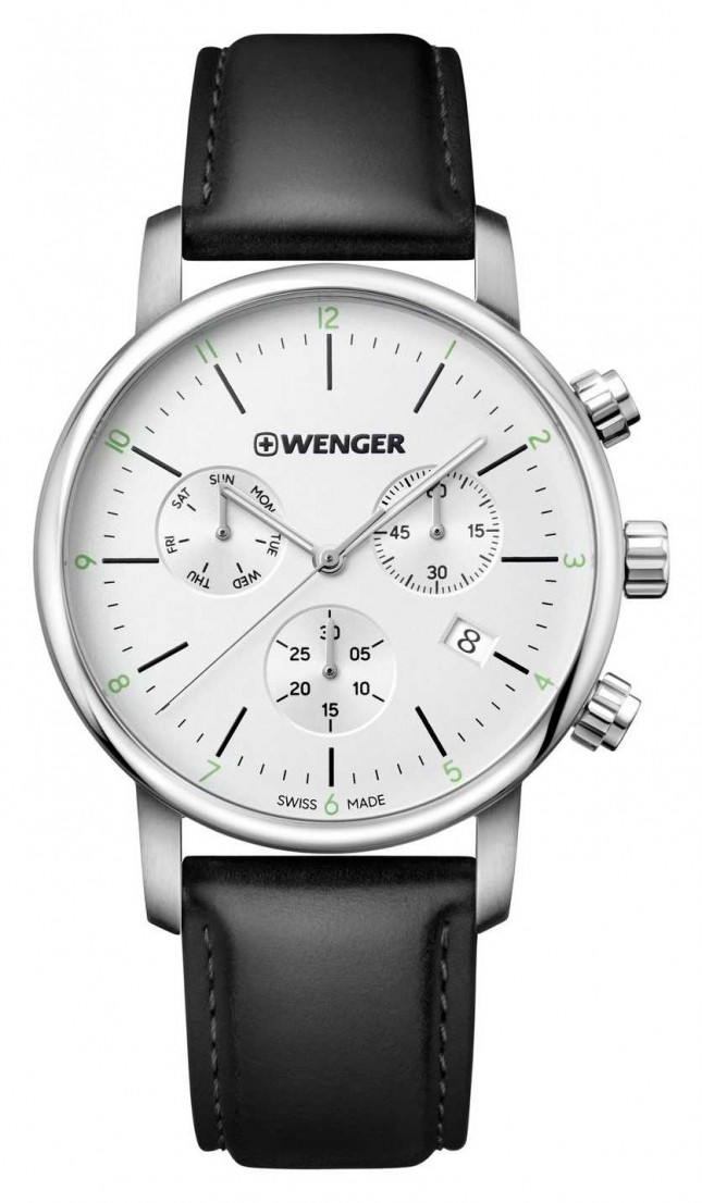 Wenger | Urban Classic Chrono | Black Leather Strap | Silver Dial | 01.1743.118