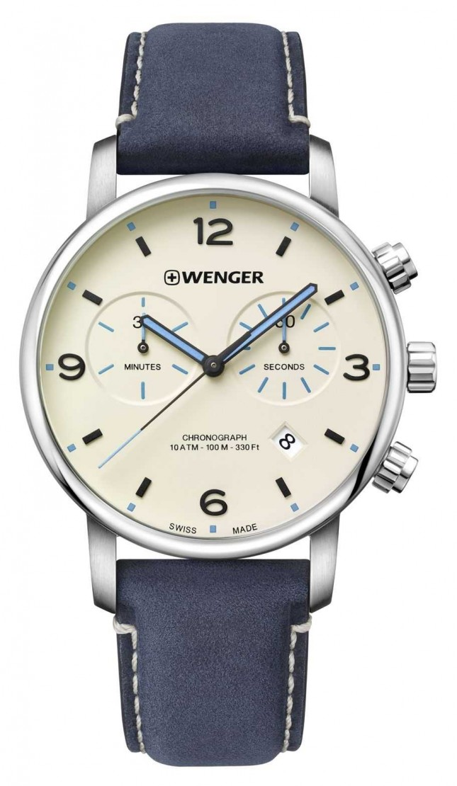 Wenger | Urban Metropolitan Chrono | Blue Leather | Silver Dial | 01.1743.119