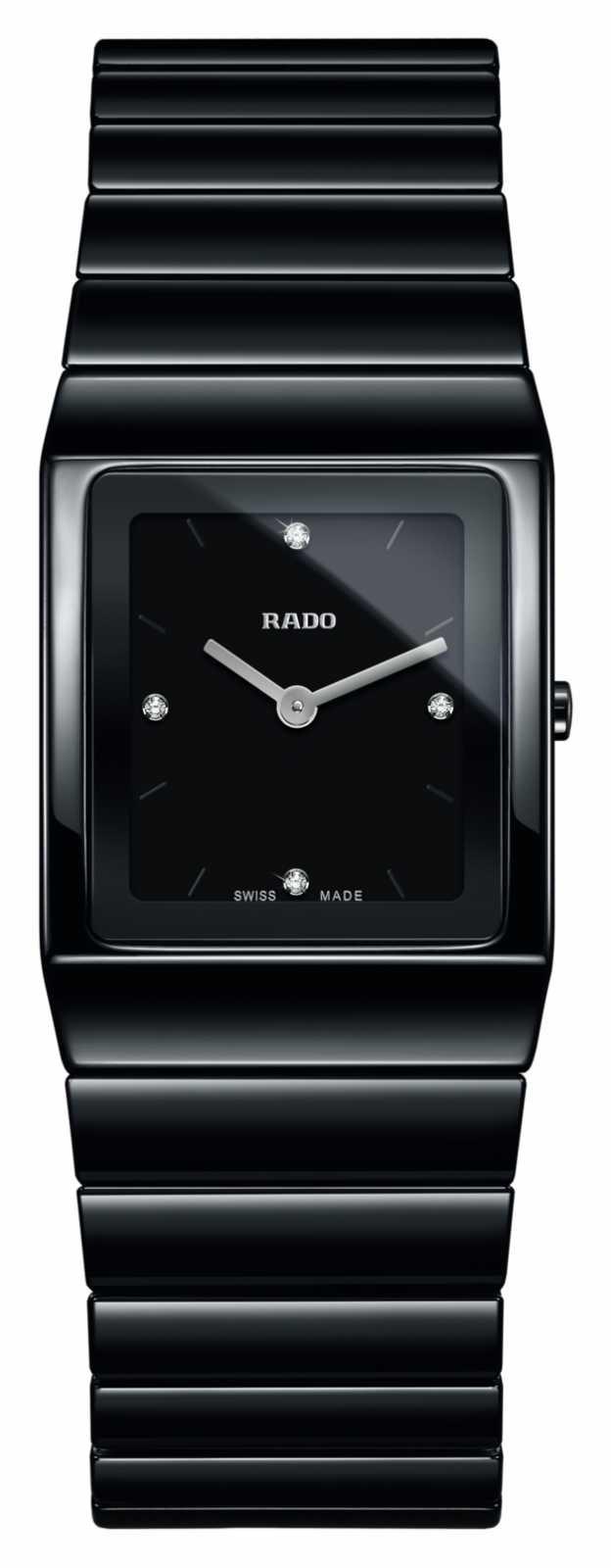 RADO Ceramica Diamonds Square Dial Black Ceramic Bracelet Watch R21702702