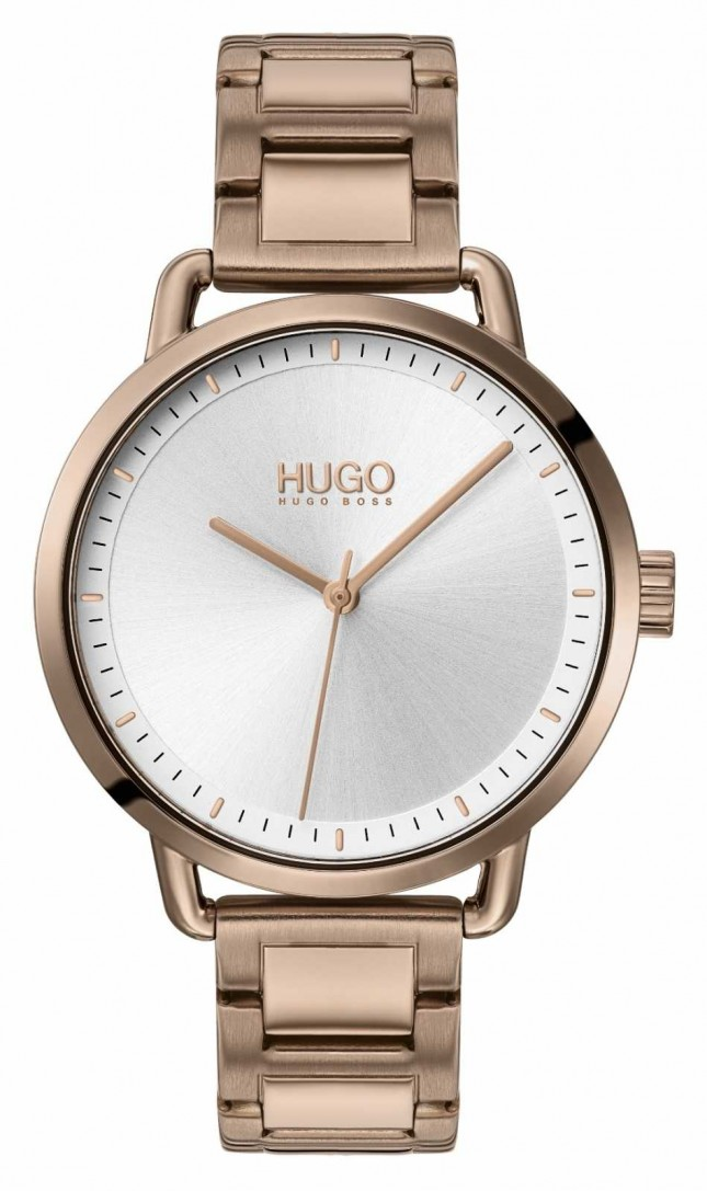 HUGO #MELLOW | Beige Gold Plated Steel Bracelet | Silver Dial | 1540056
