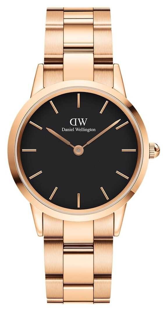 Daniel Wellington Iconic Link 32mm Rose Gold PVD Bracelet Black Dial DW00100212