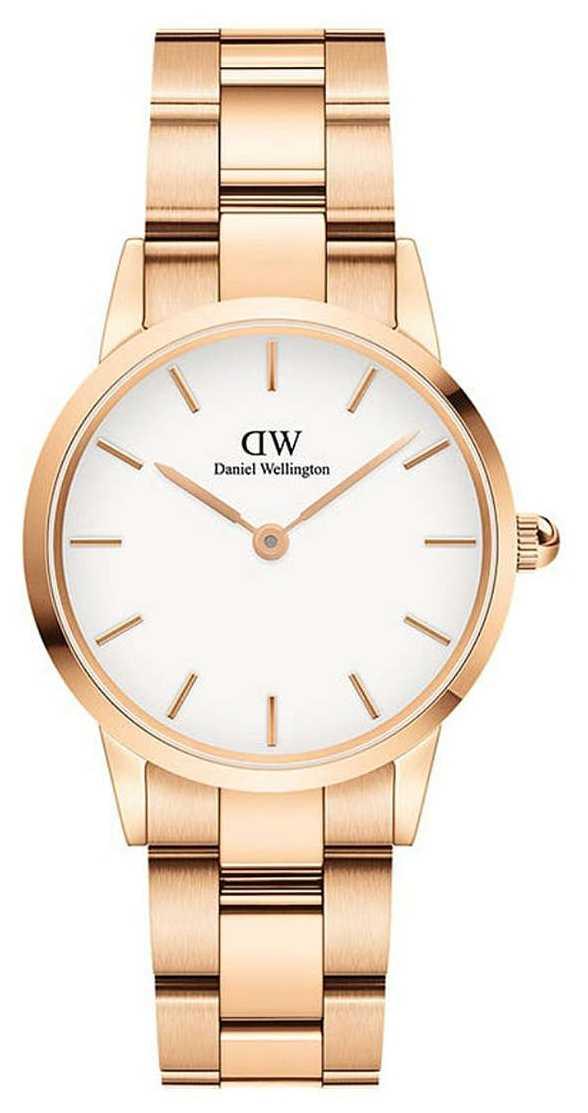 Daniel Wellington Iconic Link 32mm Rose Gold PVD Bracelet White Dial DW00100211