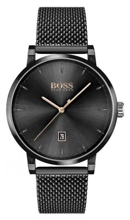 BOSS | Men's Confidence | Black Mesh Bracelet | Black Dial 1513810