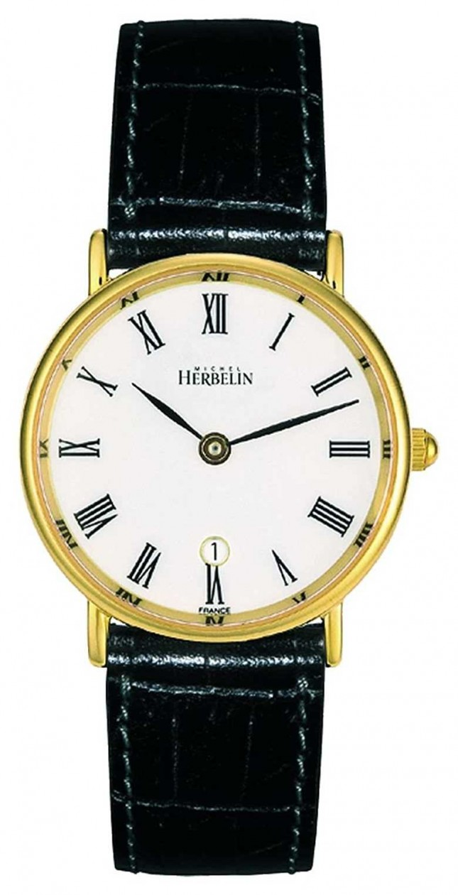 Michel Herbelin Women's Black Leather Strap | White Dial | Gold Case 16845/P01