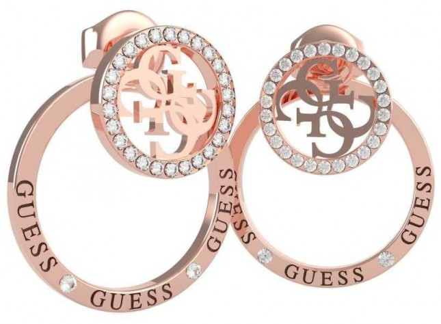 Guess Equilibre | Crystal Set Rose PVD Stud/Hoop Earrings UBE79096