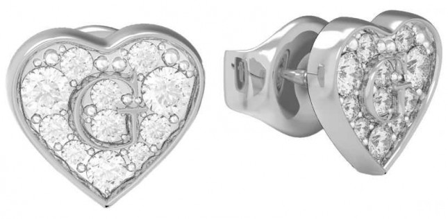 Guess GShine | Crystal Set Heart Stud Earrings UBE79072