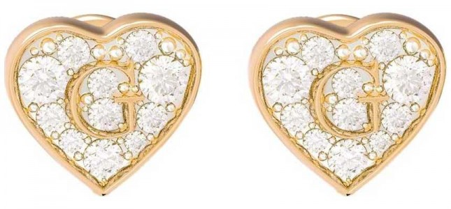 Guess GShine | Crystal Set Gold PVD Heart Stud Earrings UBE79073