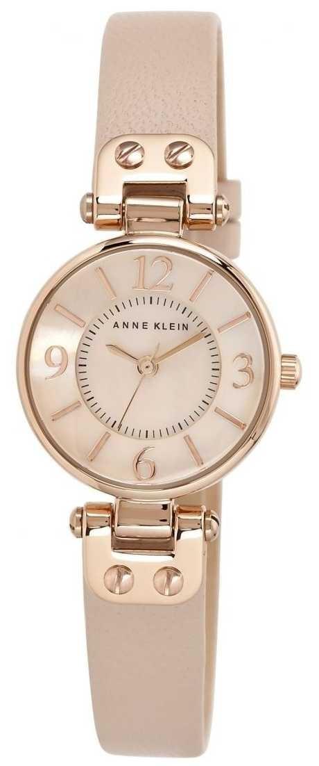 Anne Klein Womens Cream Leather Strap Rose Gold Tone Case 10/N9442RGLP