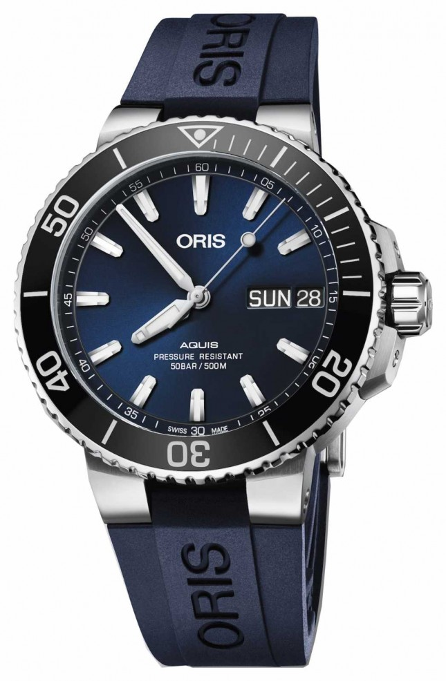 ORIS Mens Aquis Big Day Date Blue Dial Blue Rubber 01 752 7733 4135-07 4 24 65EB