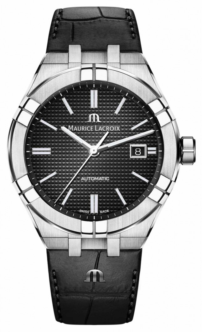 Maurice Lacroix Aikon Automatic Black Dial Black Leather Watch AI6008-SS001-330-1