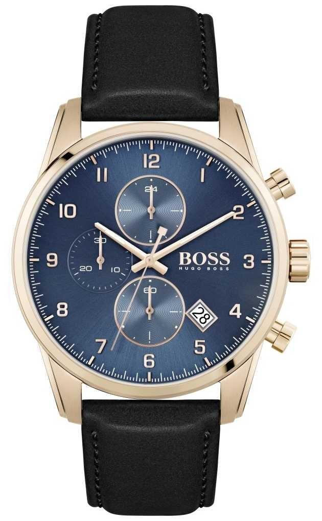BOSS Skymaster | Men's Black Leather Strap | Blue Dial 1513783