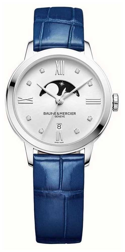 Baume & Mercier | Women's Classima | Blue Leather | Silver Moonphase Dial | M0A10329