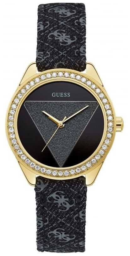 Guess | Women's Tri Glitz | Black Leather Strap | Black Dial | W0884L11